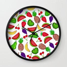 Tutti Fruity Hand Drawn Summer Mixed Fruit Wall Clock