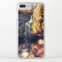 Autumn view of a forest waterfall Clear iPhone Case