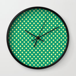 Emerald Green With Yellow Polka Dots Wall Clock