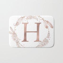 Letter H Rose Gold Pink Initial Monogram Bath Mat