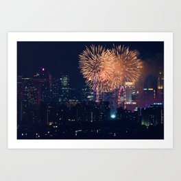 Fireworks in the City (Color) Art Print