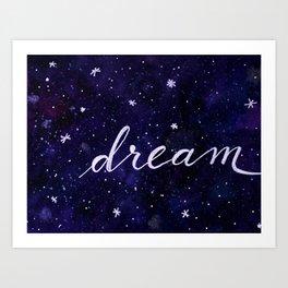 Watercolor galaxy dream - dark blue Art Print