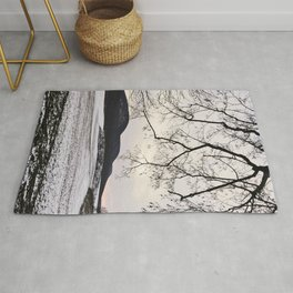 """""""Photography of Nature"""" Snowy landscape at dusk in Winter at Piliscsev, Hungary Rug"""