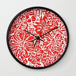 Marigold Lino Cut, Rad Red Wall Clock