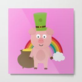 Pig with Patricks Day Hat Metal Print