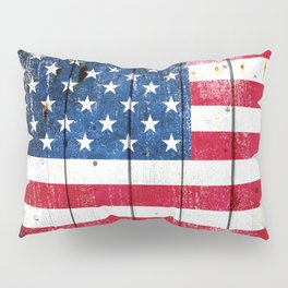 Distressed American Flag On Wood Planks - Horizontal Pillow Sham