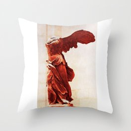 Winged Victory In The Louvre Throw Pillow