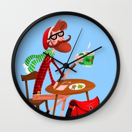 Kringle Or Hipster? Wall Clock