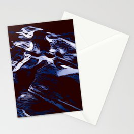 Black and white blue marbling abstract background Stationery Cards