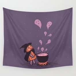 Pumpkin Witch brewing ghostly Soup Wall Tapestry