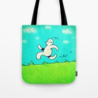 running Tote Bags featuring Running... by MaComiX