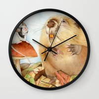beaver Wall Clocks featuring Mouse & Beaver by Patrizia Donaera ILLUSTRATION