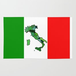 Map of Italy and Italian Flag Rug