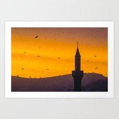 A minaret engulfed by birds 2 Art Print