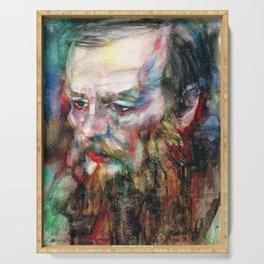 FYODOR DOSTOYEVSKY - watercolor portrait.3 Serving Tray