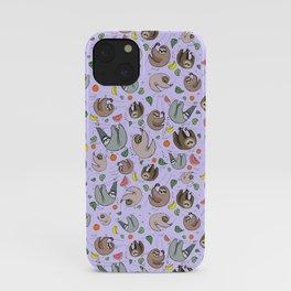 Pretty Sloth Pattern iPhone Case