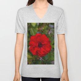 Vibrant Red Flower Unisex V-Neck