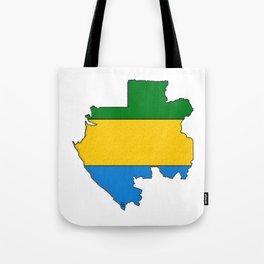 Gabon Map with Gabonese Flag Tote Bag