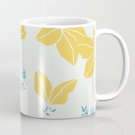 Blossoms in Mango Yellow with Mint Sprigs Coffee Mug