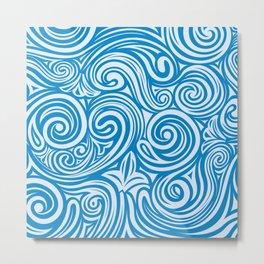 Blue Liquid Swirls Metal Print