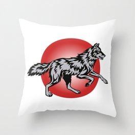 Flame Wolf Running Throw Pillow