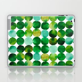 Green Watercolor Circles Pattern Laptop & iPad Skin