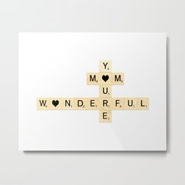 Mother's Day Scrabble Art - Mother, You're Wonderful with hearts Metal Print