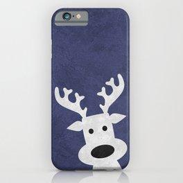 Christmas reindeer blue marble iPhone Case