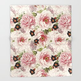 Small Vintage Peony and Ipomea Pattern - Smelling Dreams Throw Blanket