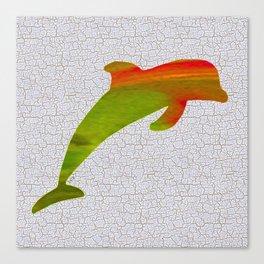 Colorful Art Dolphin Illustration Canvas Print
