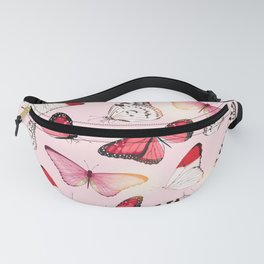 Seamless pattern with pink tropical butterfly Fanny Pack