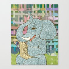 Elephant Reading Canvas Print