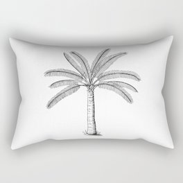 Palm Tree Sketch Black Rectangular Pillow