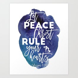 Bible verse watercolor typography blue background Colossians 3:15 Art Print