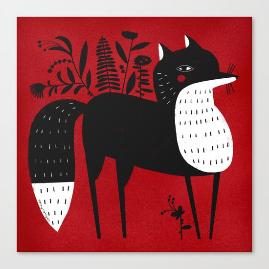 BLACK & WHITE FOX Canvas Print