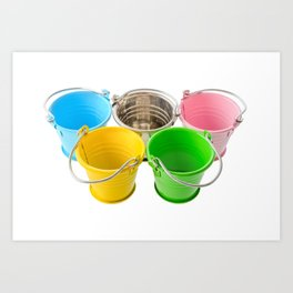 Colorful buckets Art Print