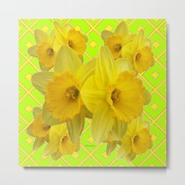 Lime Color & Yellow Daffodils Pattern Art Metal Print