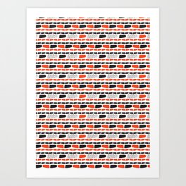 Red and Black Abstract Stripes Cryptic Shapes Art Print