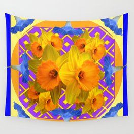 Golden Daffodils Blue Morning Glories Garden Pattern Wall Tapestry