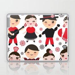 Spanish flamenco dancer. Kawaii cute face with pink cheeks and winking eyes. Gipsy Laptop & iPad Skin