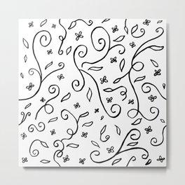 Hand Drawn Floral Swirls - Black and White Metal Print