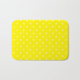 Small White Polka Dots with Yellow Background Bath Mat