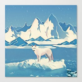 Wolf and the blue mountain Canvas Print