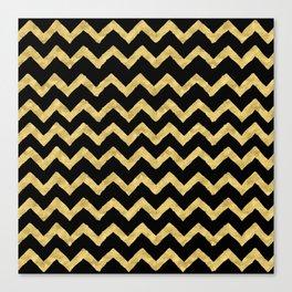 Chevron Black And Gold Canvas Print
