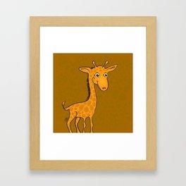 Giraffe - Sepia Brown Framed Art Print