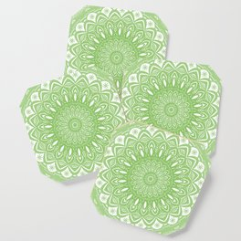 Light Lime Green Mandala Simple Minimal Minimalistic Coaster
