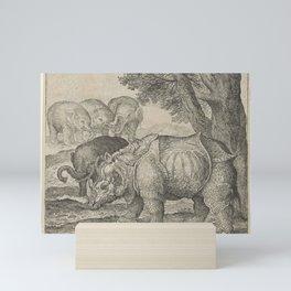 Fable of the Rhino and the Elephants, Aegidius Sadeler, after Albrecht Dürer, 1608 Mini Art Print