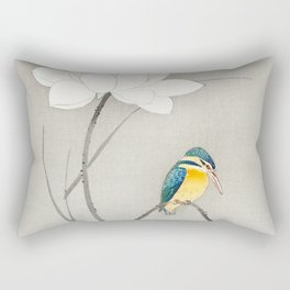Kingfisher sitting on a lotus flower - Vintage Japanese Woodblock Print Art Rectangular Pillow