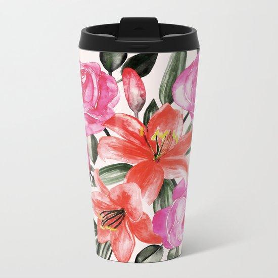 Roses and Lilies in watercolor Metal Travel Mug