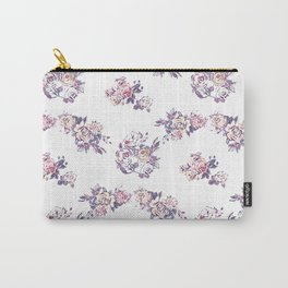 Hand painted pink lavender watercolor modern roses Carry-All Pouch